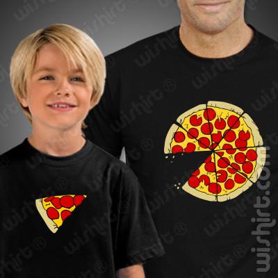 T-shirts Pizza Slice Criança, Conjunto de uma t-shirt de homem + uma t-shirt de criança