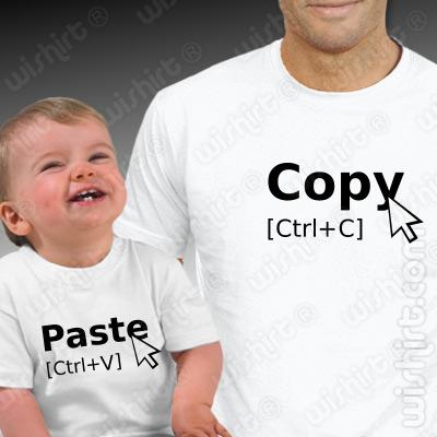 T-shirts Copy Paste para Pai e Bebé - Dia do Pai, Aniversário e Natal