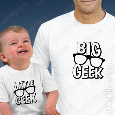 Conjunto de duas T-shirts para Pai e Bebé - Big Geek Little Geek