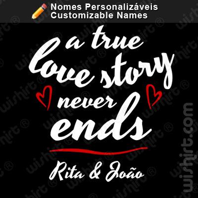 T-shirt Love Story, Nomes Personalizáveis, Prenda Dia dos Namorados