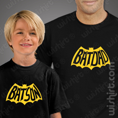 T-shirts para Pai e Filho Batdad e Batson - Prenda para o Dia do Pai