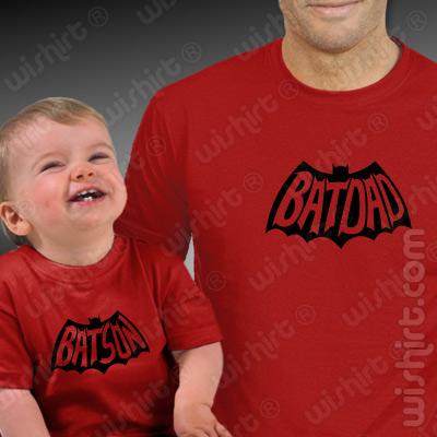 T-shirts para Pai e Bebé Batdad e Batson - Prenda para o Dia do Pai