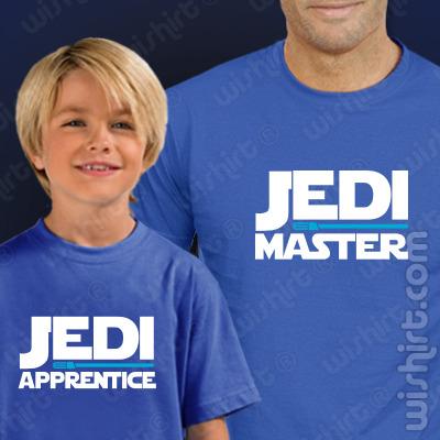 T-shirts Jedi Master, Jedi Apprentice Criança. Prenda Dia do Pai, conjunto de duas t-shirts, edição especial Dia do Pai. T-shirt de Homem + T-shirt de Criança
