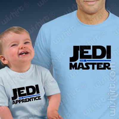 T-shirts Jedi Master, Jedi Apprentice Bebé. Prenda Dia do Pai, conjunto de uma t-shirt de homem + uma t-shirt de bebé