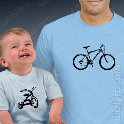 Conjunto de duas t-shirts para Pai e Bebé Bikes - Prenda para o Pai