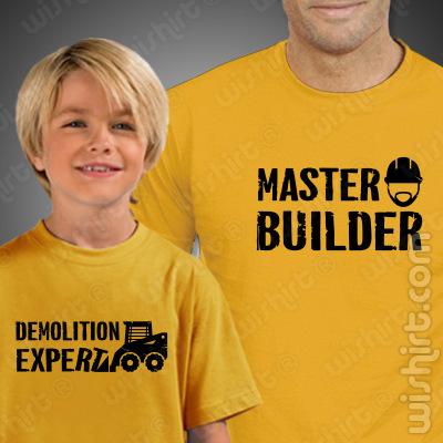 T-shirts Master Builder Demolition Expert Criança. Prenda Dia do Pai, conjunto de duas t-shirts, edição especial Dia do Pai. T-shirt de Homem + T-shirt de Criança