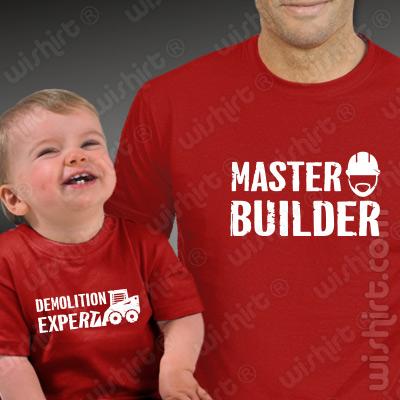 T-shirts Master Builder Demolition Expert Bebé. Presentes Dia do Pai, conjunto de uma t-shirt de homem + uma t-shirt de bebé