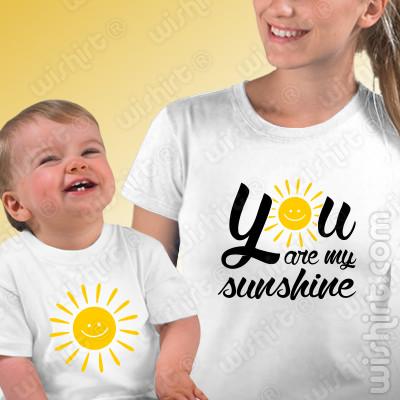 T-shirts You are my Sunshine Bebé, Conjunto de uma t-shirt de mulher + uma t-shirt de bebé