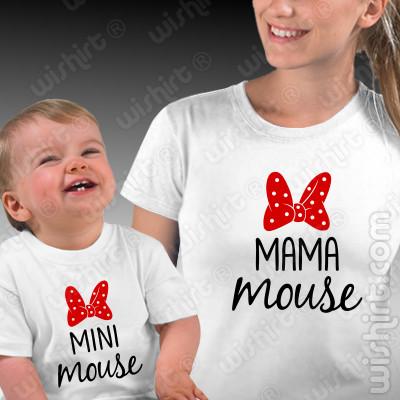 T-shirts Mini Mouse Mama Mouse Bebé, Conjunto de uma t-shirt de mulher + uma t-shirt de bebé