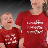 T-shirts Super Mom Super Kid Mãe/Filho - Bebé