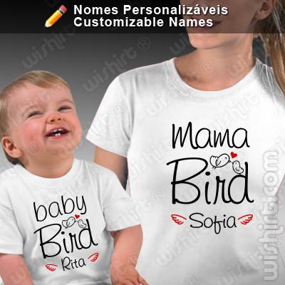 T-shirts Mama Bird Baby Bird Mãe/Filho - Bebé, Conjunto de uma t-shirt de mulher + uma t-shirt de bebé