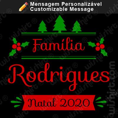 T-shirt Família Natal 2020 / Nome / Apelido / Ano Personalizável