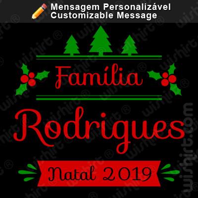 T-shirt Família Natal / Nome / Apelido / Ano Personalizável