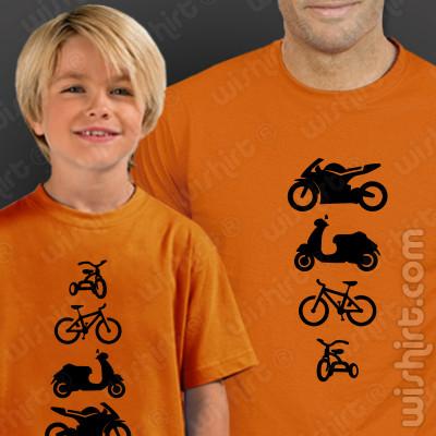 T-shirts Moto Scooter Bicicleta Triciclo Pai e Filho. Prenda Dia do Pai, conjunto de duas t-shirts, edição especial Dia do Pai. T-shirt de Homem + T-shirt de Criança