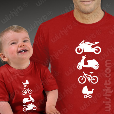 T-shirts Moto Scooter Bicicleta Carrinho Bebé. Presentes Dia do Pai, conjunto de uma t-shirt de homem + uma t-shirt de bebé