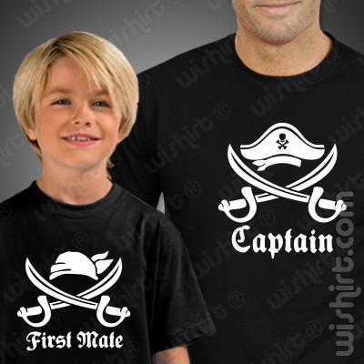 T-shirts para Pai e Filho Captain First Mate - Prenda do Dia do Pai