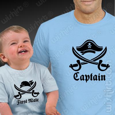 T-shirts para Pai e Bebé Captain First Mate - Prenda para o Dia do Pai