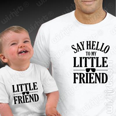 T-shirts Say Hello to My Little Friend Pai e Bebé. Prenda Dia do Pai, conjunto de uma t-shirt de homem + uma t-shirt de bebé