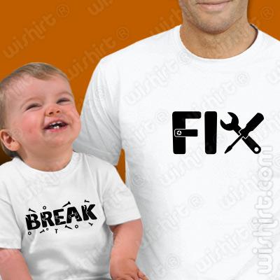 Conjunto de duas t-shirts a combinar para Pai e Bebé Fix Break