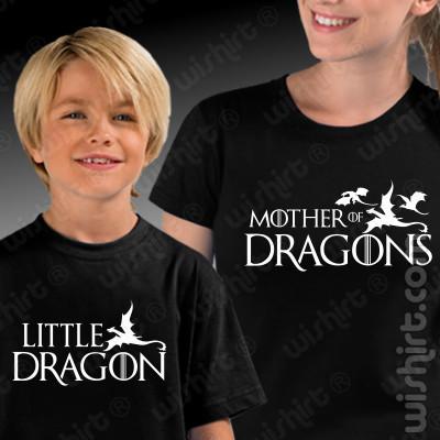 T-shirts Mother of Dragons / Game of Thrones Mãe - Filho, Conjunto de uma t-shirt de mulher + uma t-shirt de criança