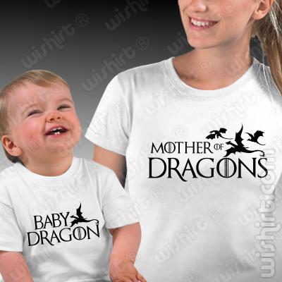 T-shirts Mother of Dragons / Game of Thrones Mãe - Bebé, Conjunto de uma t-shirt de mulher + uma t-shirt de bebé