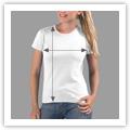 Tamanhos T-shirt Mulher Cintada